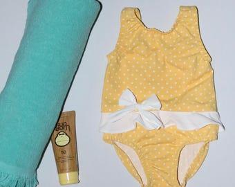 Baby Girl Yellow One Piece Swim Suit