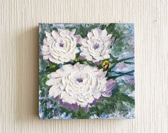 Water Lilies Oil Painting / White Flowers Painting / Floral Art Decor / Abstract Artwork / Modern Painting Original Oil Painting on Canvas