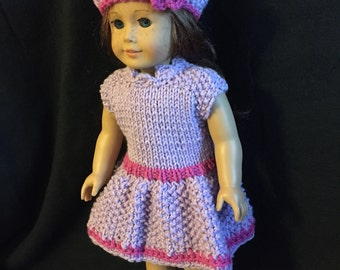 American girl doll purple knitted outfit