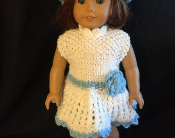 American girl doll knitted white outfit