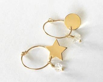14K MAAN STER Gold Filled Oorringen & Herkimer Diamant, goud, minimalistisch, oorringen simpel, door Little Motive
