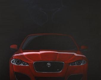Jaguar with feline; Acrylic painting; Car; Sports car; 100 x 70 cm
