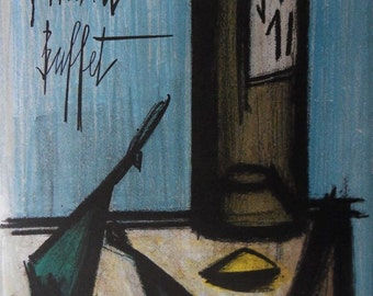 Bernard Buffet - lithograph signed referenced still life #MOURLOT bottle