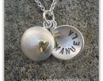 Little Locket in sterling silver with a heart and cross 585er yellow gold - handgefertig