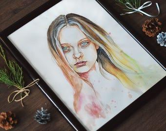 Original watercolor portrait painting on paper / Custom portrait / Girl portrait/ Wall art / Modern art