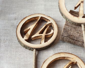 12 Table numbers on stick, Wood wedding table number, Seating plan numbers, Rustic table numbers, Wedding numbers, Table number holder