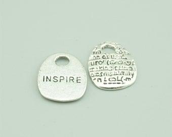 14x17mm Antique Silver Inspire Charm Pendants,Letters Pendants Z7673