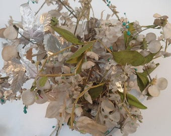Very Rare French Vintage 1930's Paper & Fabric Flowers Trailing Wedding Bouquet Display