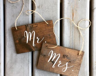 Mr and Mrs Calligraphy Hanging Chair Signs | White on Wood