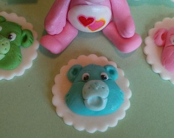 12 Fondant Care Bears Cupcake Toppers