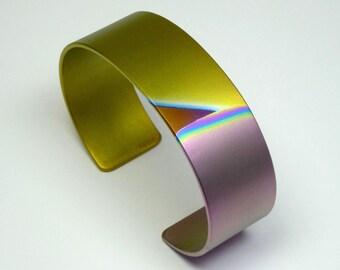 Anodized titanium bracelet cuff. Titanium jewelry. Colored titanium bracelet, bangle.