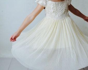 Ships Free! Flower Girl Crochet Dress, Boho Girls Dress, Rustic Flower Girl Dress, Girls Ivory Dress, Lace Flower Girl, Vintage Flower Girl