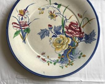Plate ceramic multicolor pink décor