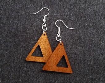 Geometric triangle earrings, mahogany and silver 0062