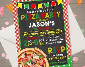 pizza party invitation pizza invitation pizza birthday invitation pizza birthday party kids pizza party invite chalkboard - Pizza Party Invitation