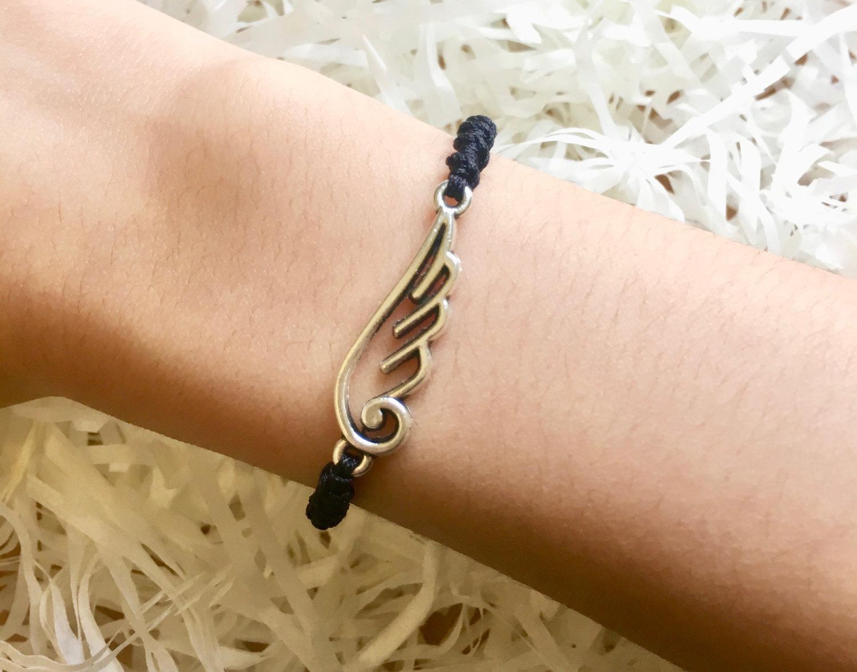 Handmade Bracelet for Her with Silver Wing charm, Friendship Bracelet