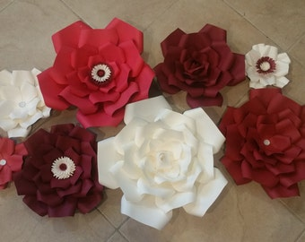 8 pc Paper Flower set, assorted sizes