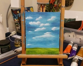 Original Oil Painting, 8x10, Field and Sky