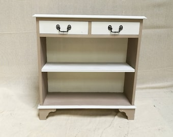 REDUCED Shabby chic open bookcase with drawers, upcycle renovated open bookcase,  Lexterten bookcase with two drawers,open bookcase, REDUCED