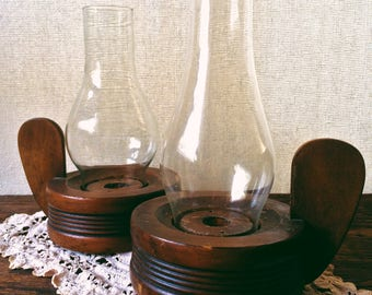 Midcentury Modern Wood and Glass Candlestick Holders