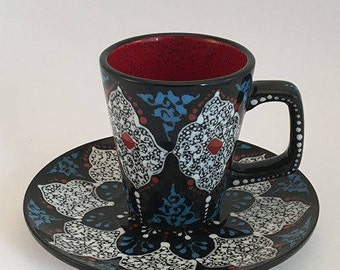 Coffee cup and saucer ,hand made ceramic , hand painted ceramic ,black and white Coffee cup and saucer  best gift for grand ma and grand pa