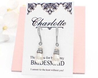Bridesmaid pearl earrings, bridal pearl earrings, wedding jewelry, bridal jewelry, pearl drop earrings, simple pearl earrings, bridesmaid