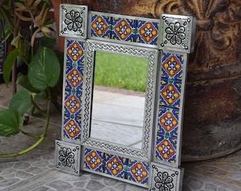 Talavera Tin Mirror 13 x 15  Handpainted Handmade Home Decor Mexican Talavera Ceramic Tile