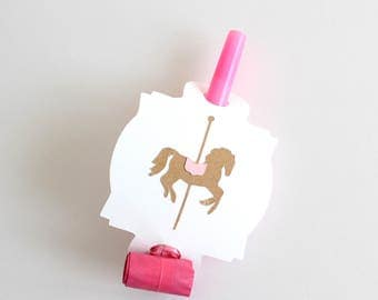 Carousel party favors, carousel horse, carousel party blowouts, carousel birthday party, carousel decorations, carousel props, pink party