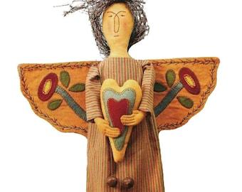 Sunvalley Primitives Cloth Doll Pattern. Folk Art Angel.