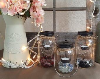 Starlight Tea Light Ball Mason Jar Lantern - Candles Lantern - Pint, Quart Sizes - Rustic Vintage Home Decor, Candle Holder, Tea Lights
