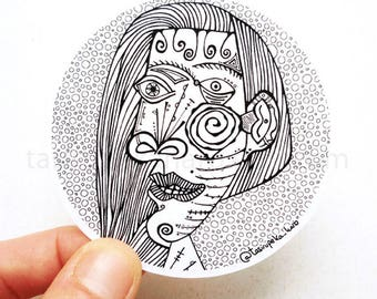 Picasso. Woman. Sticker. Vinyl. Adhesive. Art. Famous Painting. Cubism. Zentangle. Car. Macbook. Black and white. © FREE SHIPPING