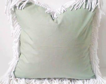 Plain, sage green brushed cotton Cushion