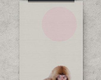 Snow monkey print, nursery wall art, printable art, wall art printable, wall art large, boy nursery wall art, girl nursery wall art, prints
