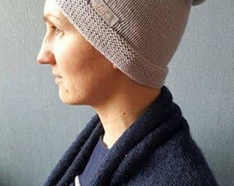 Silver gray slouchy beanie, silver gray hat, warm hat, winter beanie, spring beanie, gray beanie, gray hat, slouchy merino, long beanie