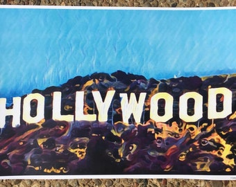 HOLLYWOOD SIGN graphic art print