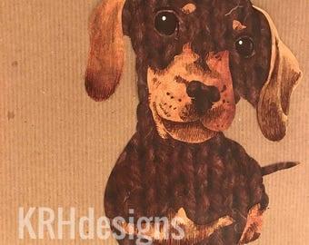 Handmade A4 Daschund mixed media portrait print
