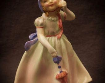 Royal Doulton Babie Figurine Girl with Parasol Umbrella and Bonnet