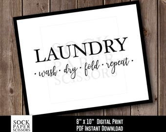 Printable Typography, LAUNDRY wash dry fold repeat, Laundry Sign, Laundry Room Decor, Printable Print, PDF Digital Download, Sku-RHO115
