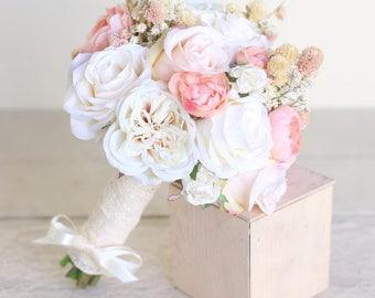 Rustic Silk Bridal Bouquet Baby's Breath Dried Wildflowers Country Barn Wedding (1015)