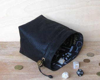 Drawstring Large Black Leather Dice Bag, Gamer Bag for Tabletop and Strategy Games, Dungeons and Dragons, Cosplay, Rummikub, Scrabble