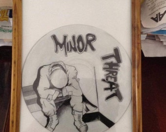 Minor Threat self title album rendition on Vinyl by Little Sarrah circa 2016 punk rock wall art Ian Stewart art on vying