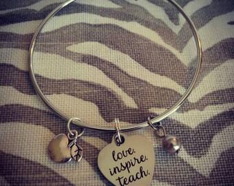 Love. Inspire. Teach. Teachers Bracelet. Silver Bangle.