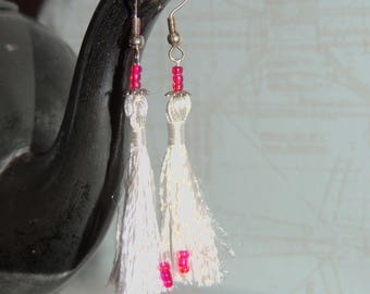 Long earrings with pearls and white tassel #434