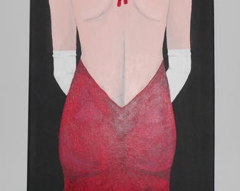 Women in a red dress painting, Original Acrylic