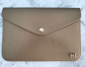 Personalised Monogram Leather Envelope Clutch in Metallic Gold with detachable wrist strap