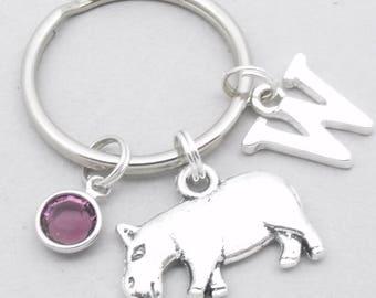 Hippo monogram keyring | hippo keychain | personalised hippo keyring | hippo accessory | hippo gift | letter | hippopotamus keychain