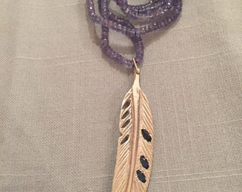 Tanzanite and Sterling Silver and Sapphire Feather Charm Necklace