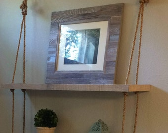 Hanging Reclaimed Wood Rope Shelf