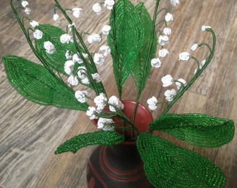 Lilies of the valley made of beads