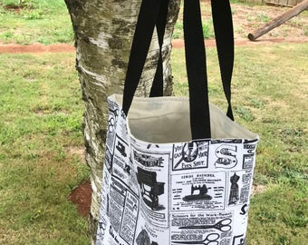 Padded Ipad Bag - Sewing Newsprint